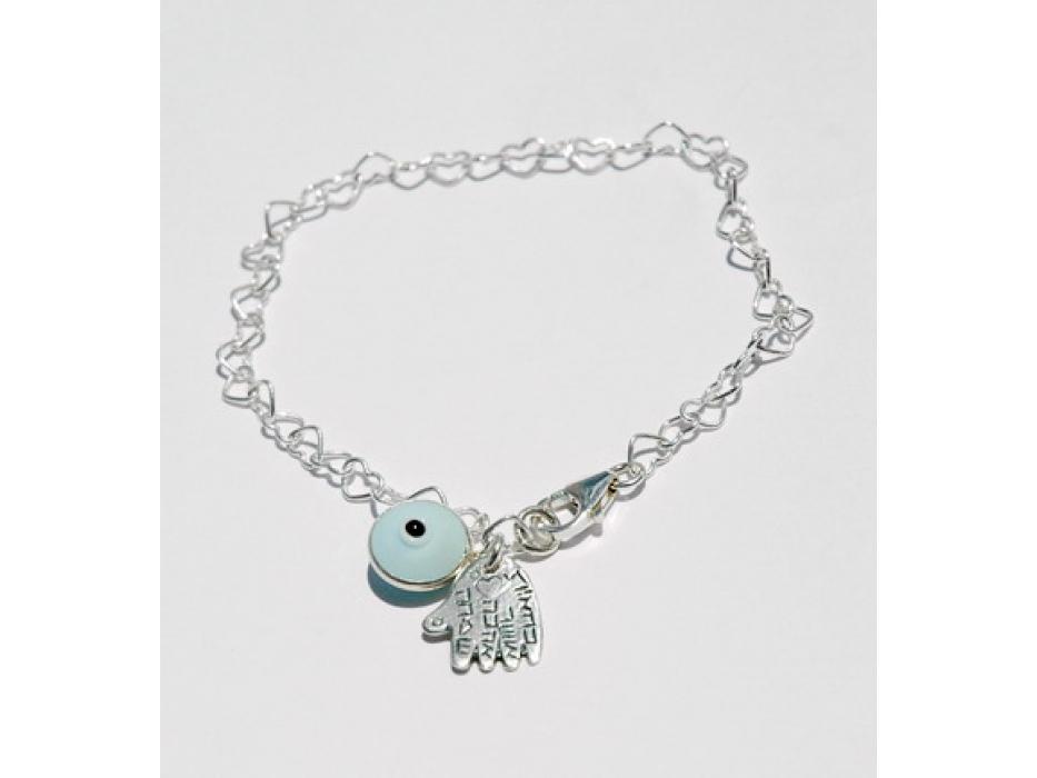 Silver Hamsa Bracelet  with Hebrew Blessings