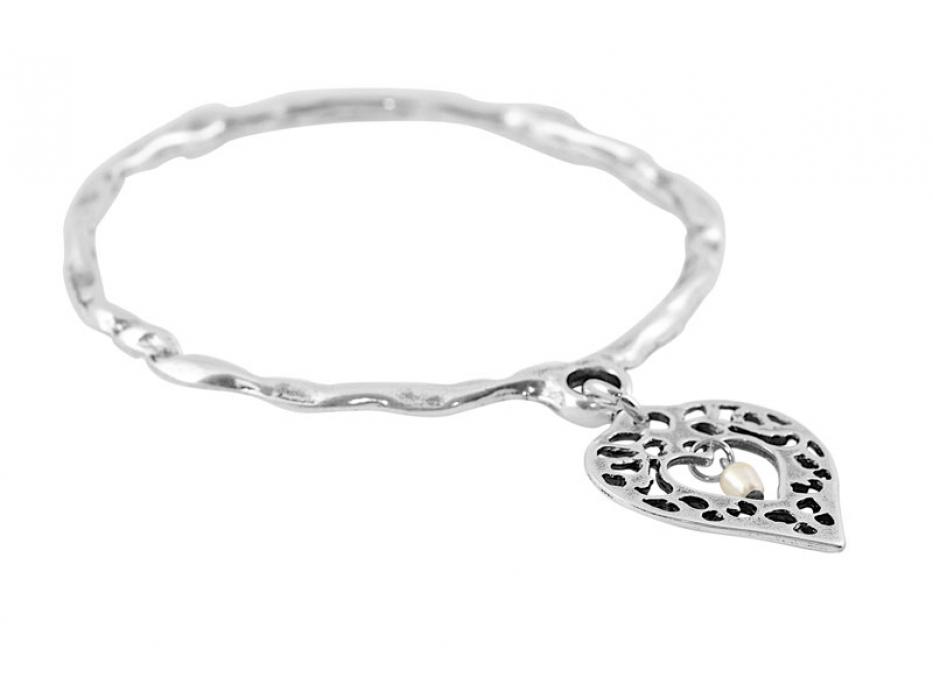 Silver Heart Charm, Israeli Bracelet