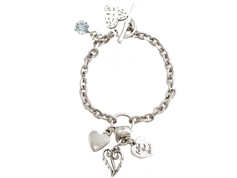 Silver Heart Charms, Israeli Bracelet