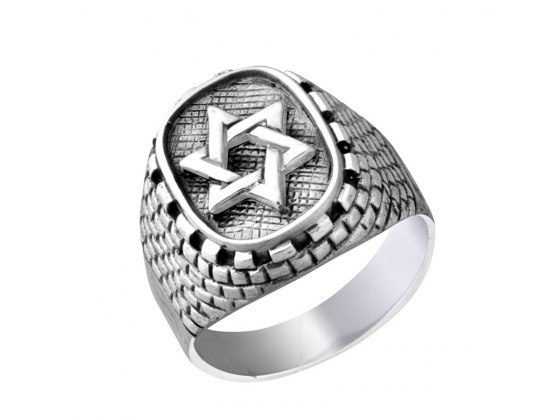 Silver Interwoven Star of David Jerusalem Stone Ring