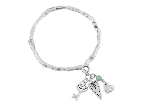 Silver Key and Heart Charms, Israeli Bracelet