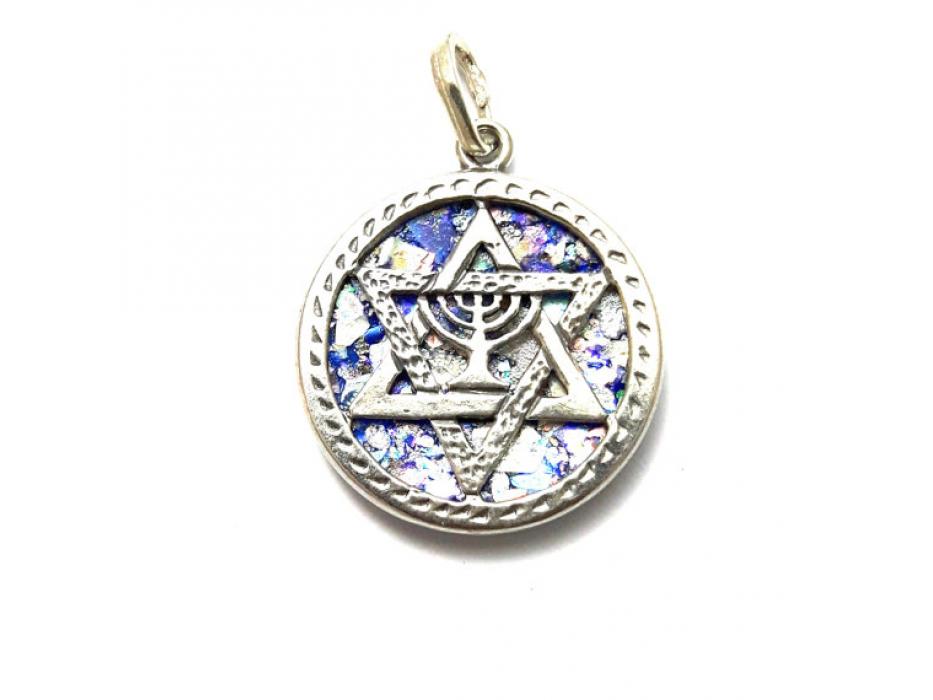 Silver Menorah Star of David on Roman Glass Necklace