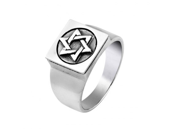 Silver Mens Interwoven Star of David Ring