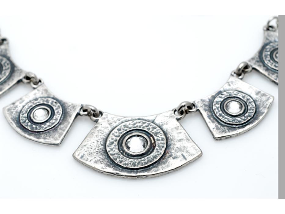 Silver Necklace & Bracelet Set, Framed Crystals - Anava Jewelry
