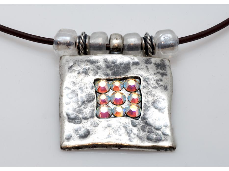 Silver Pendant Necklace with Swarovski Crystals - Anava Jewelry
