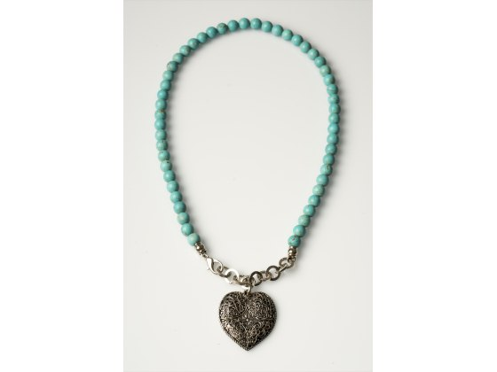 Silver Plate Heart Pendant on Turquoise Bead Necklace - Anava Jewelry