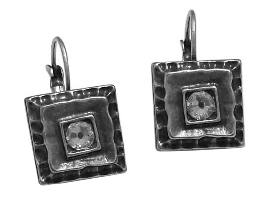 Silver Plated  and Crystal Square Earrings, Israeli Jewelry