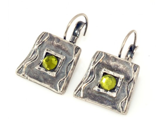 Silver Plated and Green Crystal Earrings , Israeli Jewelry