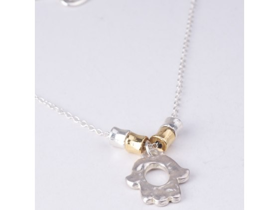 silver plated Hamsa hand pendant