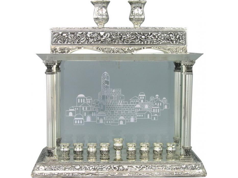 Silver Plated Hanukkah Menorah with Jerusalem and Shabbat Candlesticks