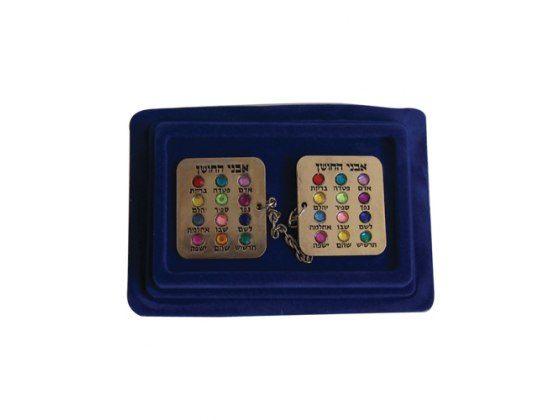 Silver Plated Hoshen Tallit Clips with Gem Names