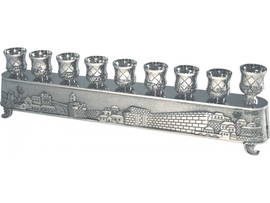 Silver Plated Jerusalem Hanukkah Menorah Low Set