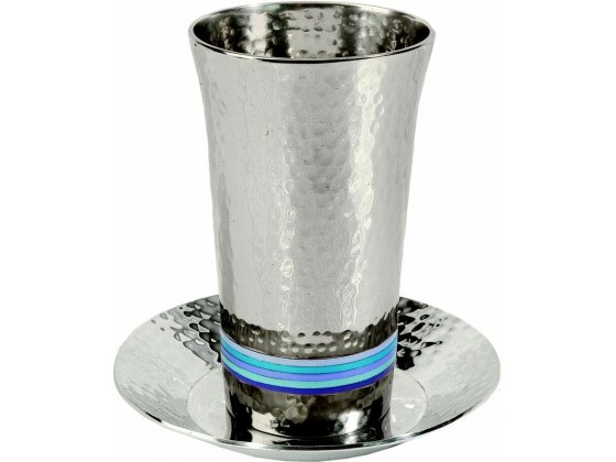 Silver Plated Kiddush Cup 5 Colors Hammer Work Blue Stripes