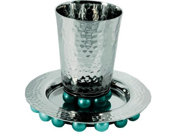 Silver Plated Kiddush Cup and Plate with Blue Bead Decorations