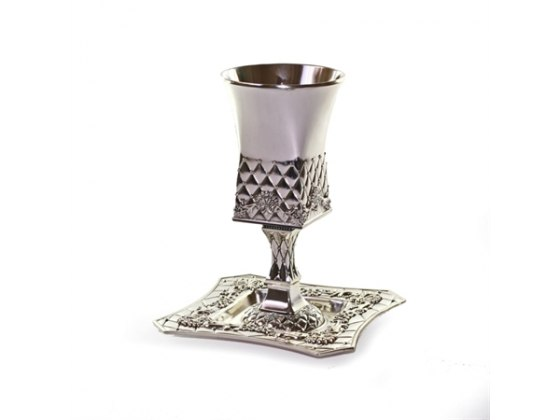 Square bottomed Silverplate Kiddush Goblet & Saucer, Pillowed Lattice Trime