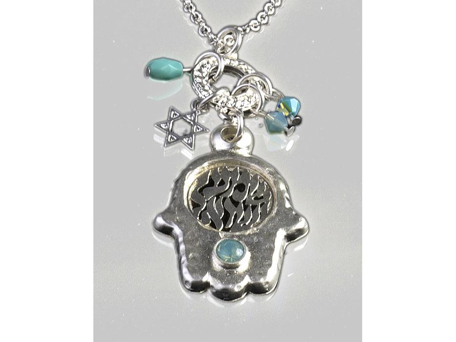 Silver Plated Shema Yisrael Hamsa Pendant Necklace - Anava Jewelry