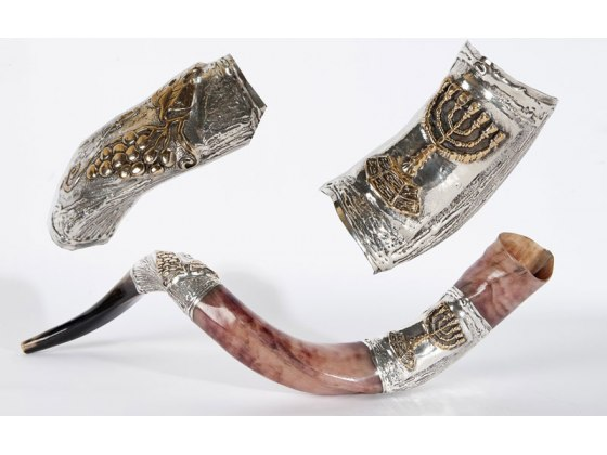 Silver Plated Yemenite Shofar Menorah and Grapes
