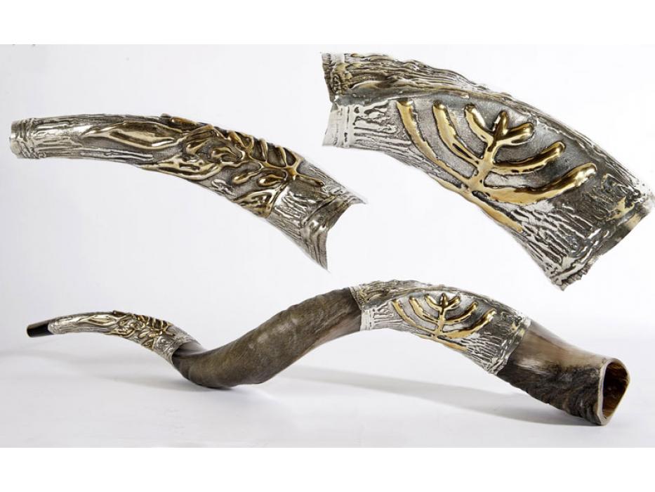 Silver Plated Yemenite Shofar Menorah and Olive Branch