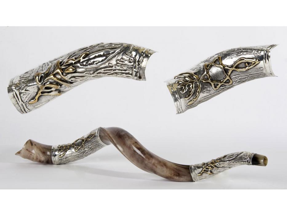 Silver Plated Yemenite Shofar Olive Branch and Messianic Symbol