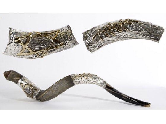 Silver Plated Yemenite Shofar Olive Branch and Star of David