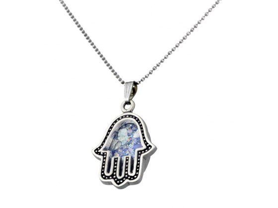Silver Roman Glass Hamsa Necklace