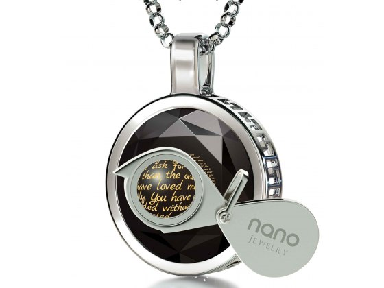 Silver Thank You Mom with Cubic Zirconia Black Jet