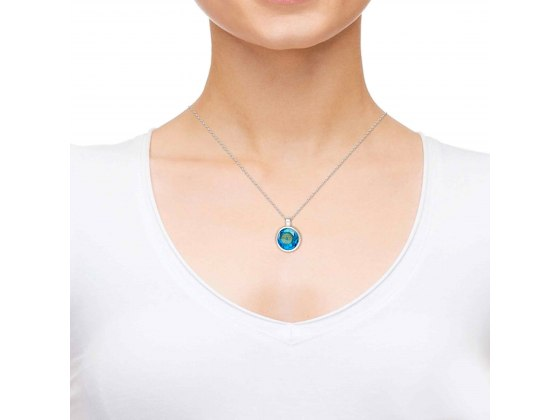 Silver Round Frame Thank You Mom with Cubic Zirconia Turquoise Blue Topaz