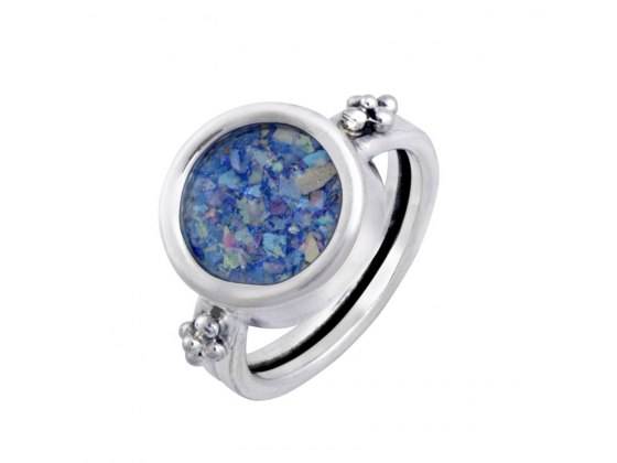 Silver Round Roman Glass Decorated Ring