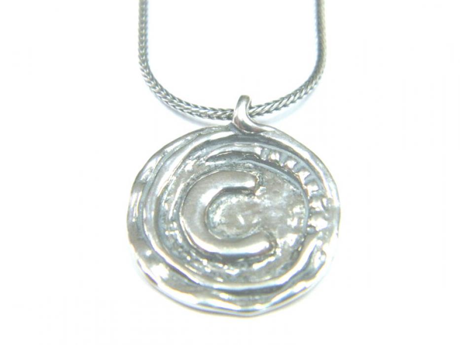 Silver Shablool C Stamp Pendant Necklace