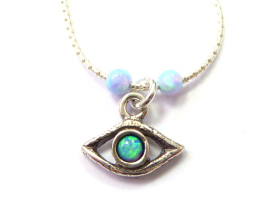 Silver Shablool Evil Eye Necklace with Blue Green Opal