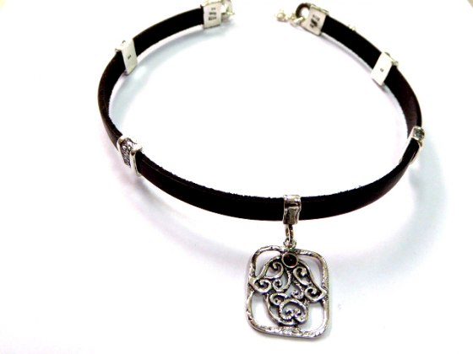 Silver Shablool Hamsa Leather Choker Necklace