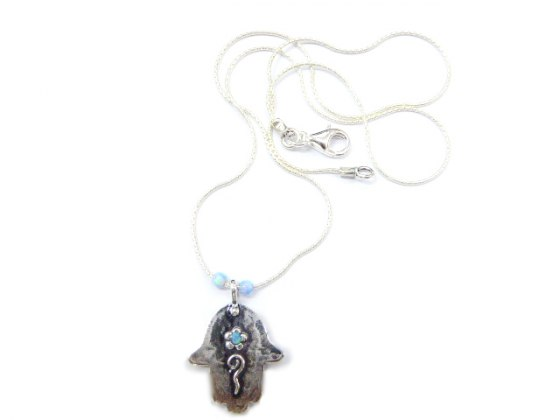 Silver Shablool Hamsa Necklace with Blue Stone Flower