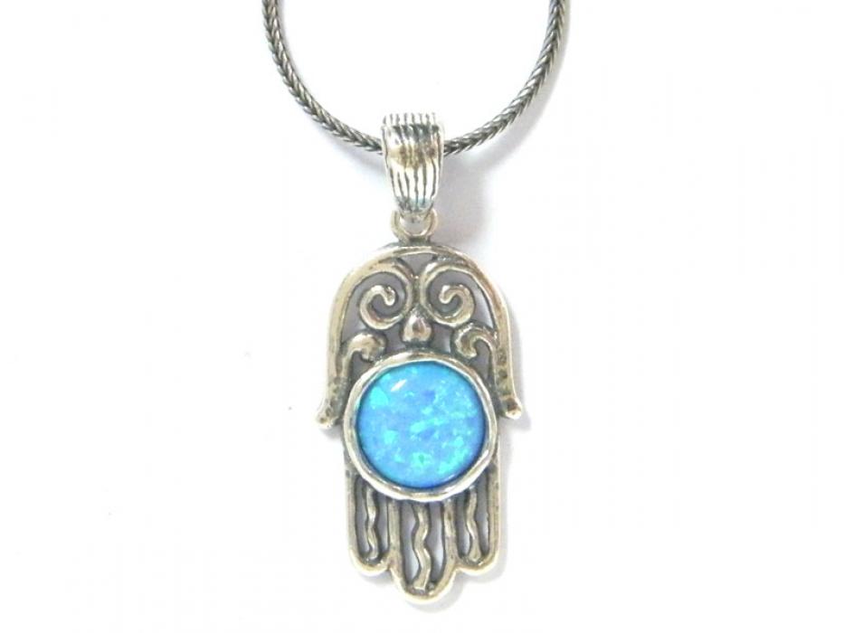 Silver Shablool Intricate Blue Opal Hamsa Pendant Necklace
