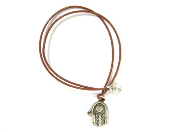 Silver Shablool Leather Rope Hamsa Necklace