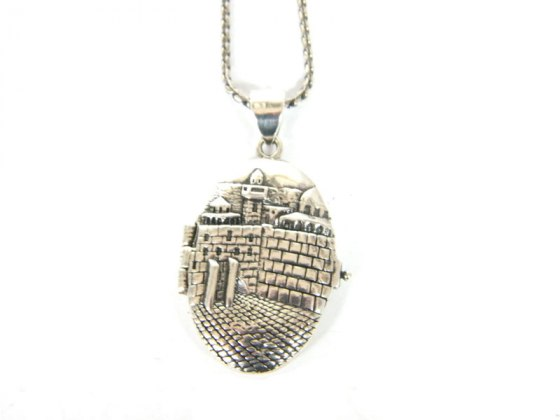Silver Shablool Oval Western Wall Locket Pendant Necklace