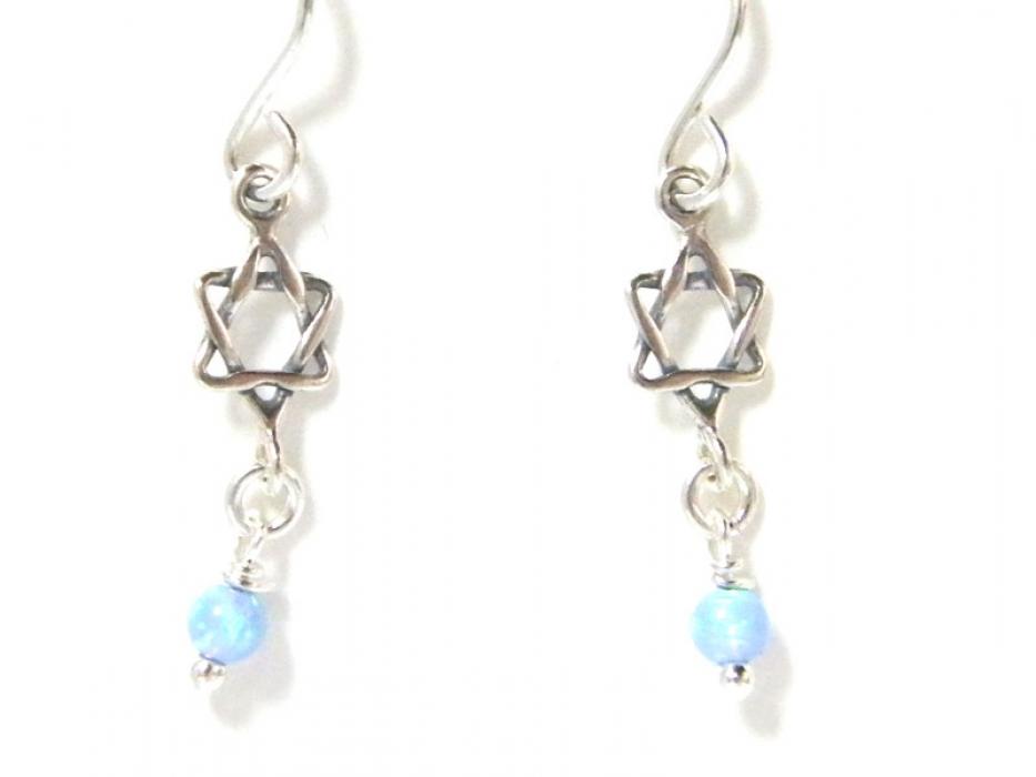 Silver Shablool Star of David Blue Opal Earrings