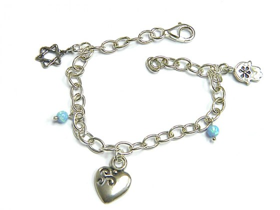 Silver Shablool Star of David Hamsa Heart Blue Opals Charm Bracelet