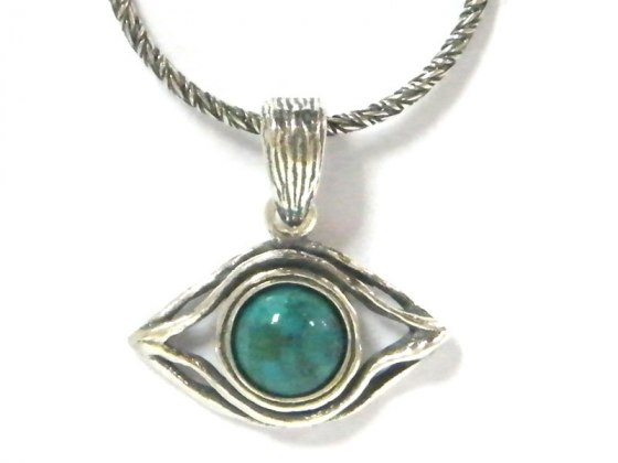 Silver Shablool Turquoise Evil Eye Pendant Necklace