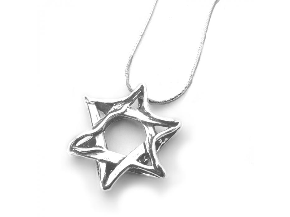 Silver Shablool Wavy Star of David Pendant Necklace
