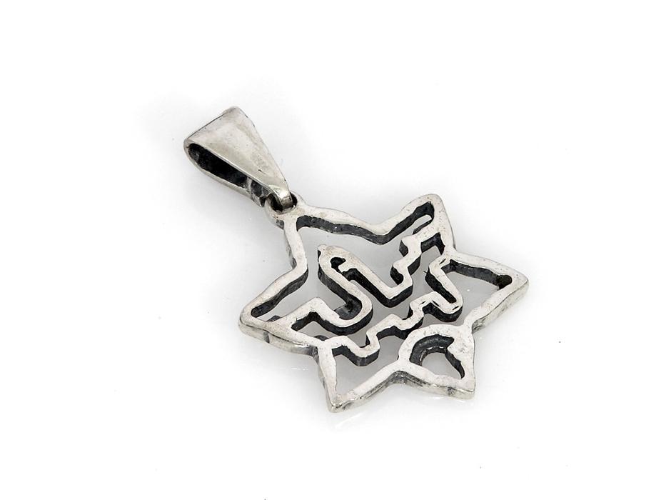 Silver Star of David with Jerusalem walls