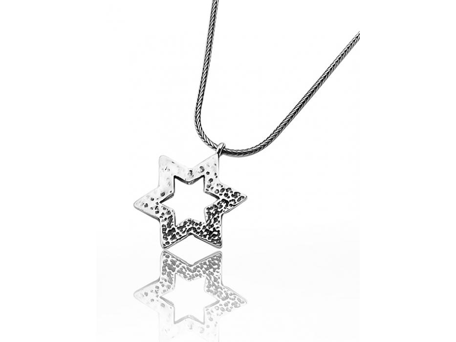 Silver Star of David necklace Modern Hammer Textured Design