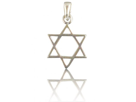 Silver Star of David Necklace Simplistic Modern Style