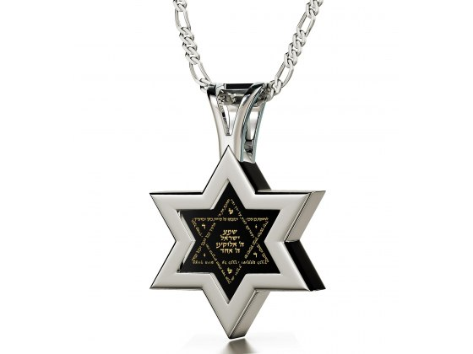 Silver Star of David with Shema Yisrael Onyx Stone Nano Jewelry