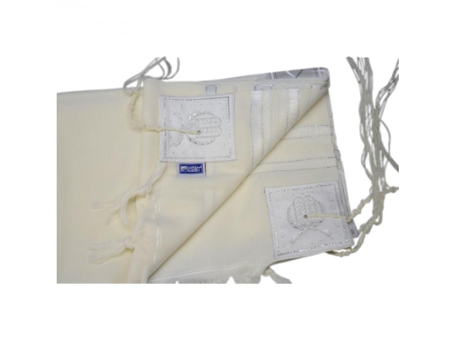 Silver Stripes Prima AA Wool, Tallit Prayer Shawl