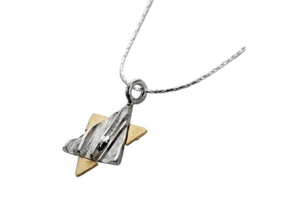 Silver Triangle on Gold, Star of David Necklace