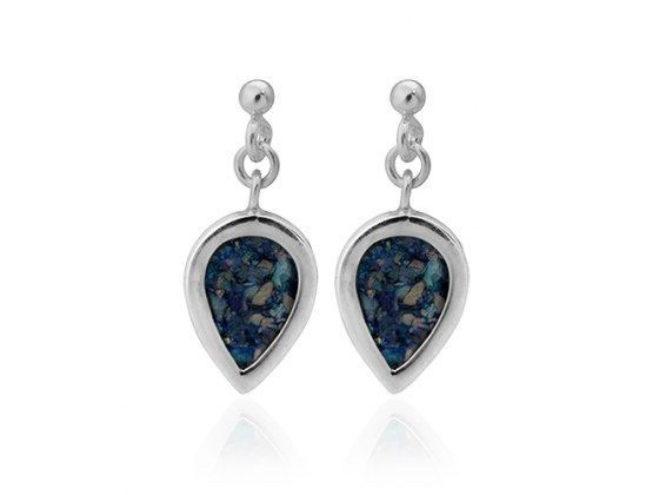 Silver Upside Down Teardrop Roman Glass Earrings