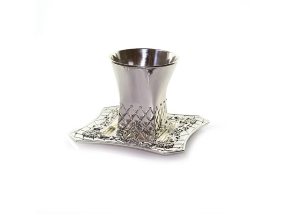 Silverplate Kiddush Cup & Saucer,Square-bottomed Pillowed Lattice