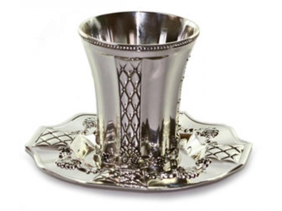 Silverplate Kiddush Cup & Saucer, Lattice Panels