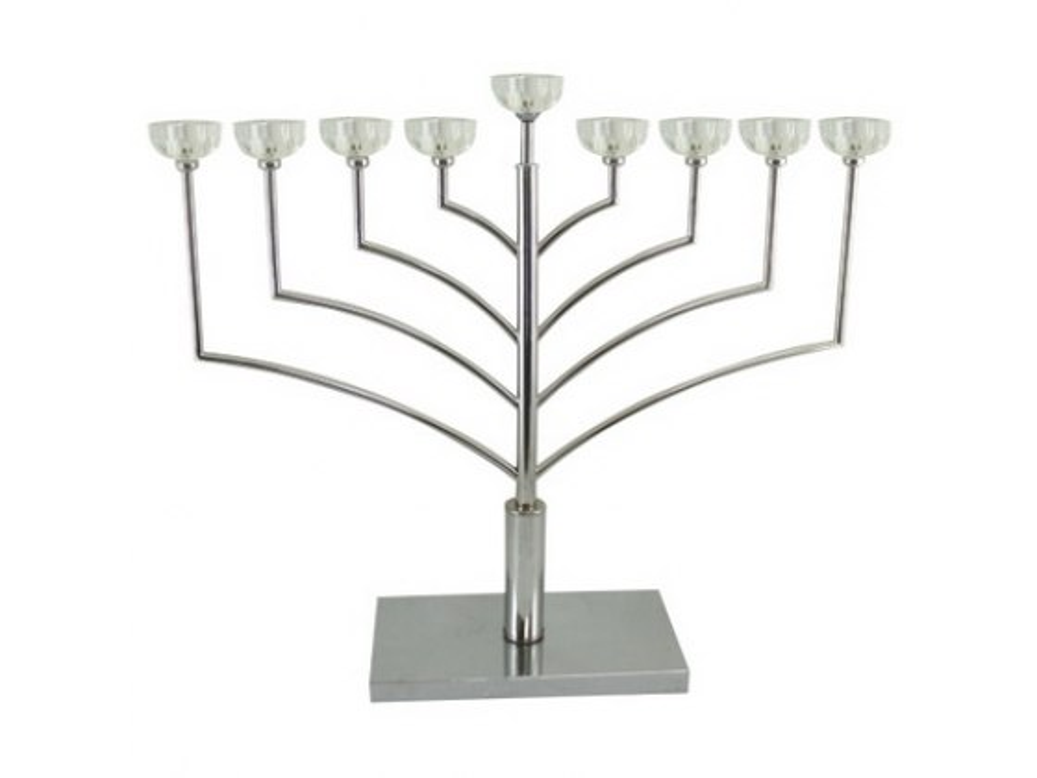 Simple Elegant Chabbad Angled Silver Hanukkah Menorah