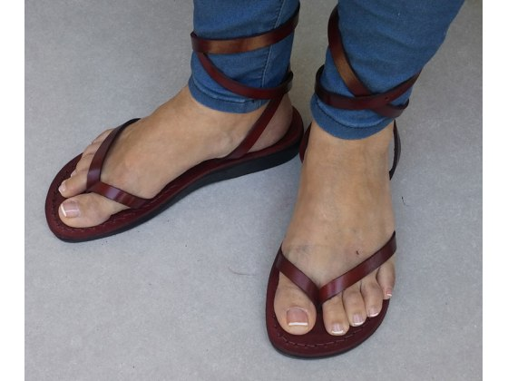 Simple Leather V-Strap Biblical Handmade Sandal with Adjustable Ankle Wrap